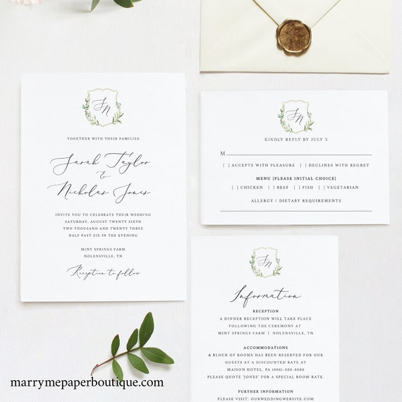 Wedding Invitation Template Set, Greenery Wedding Crest, Printable Invitation Suite with RSVP & Details, Editable, Templett INSTANT Download