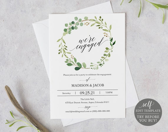 Engagement Party Invitation Template, Greenery, Editable Instant Download, TRY BEFORE You BUY