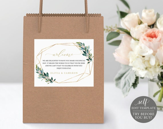 TRY BEFORE You BUY! Wedding Gift Bag Label Template, Fully Editable Instant Download, Greenery
