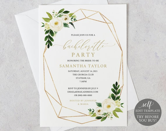Bachelorette Party Invitation Template, White Floral Geometric, Editable Instant Download, TRY BEFORE You BUY