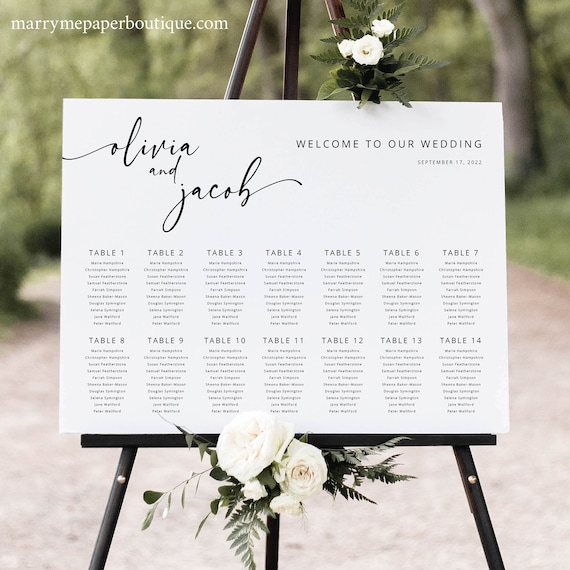 Wedding Seating Chart Template, Modern Calligraphy, Wedding Table Seating Plan Sign, Printable, Editable, Templett INSTANT Download