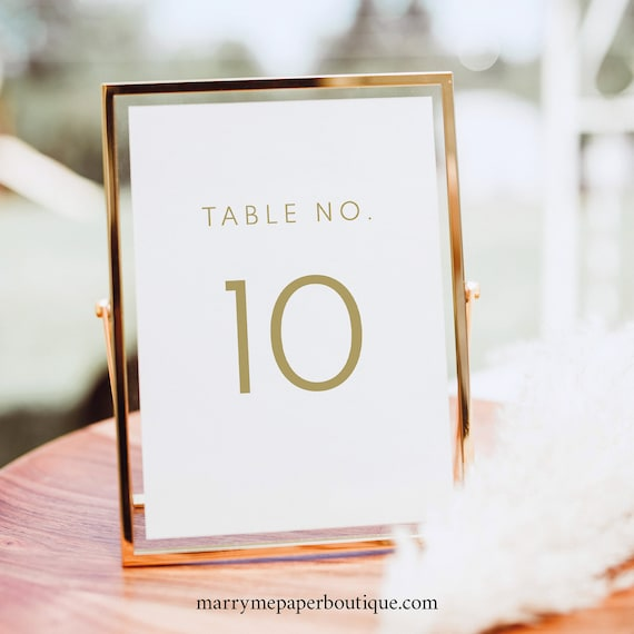 Table Number Template, TRY BEFORE You BUY, Fully Editable Instant Download, Elegant Gold
