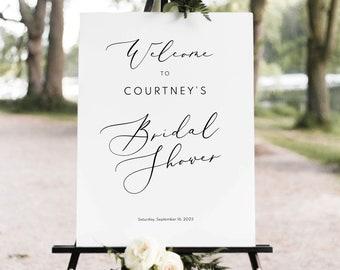 Elegant Bridal Shower Welcome Sign Template, Elegant Script, Bridal Shower Sign Printable, Calligraphy, Templett INSTANT Download, Editable
