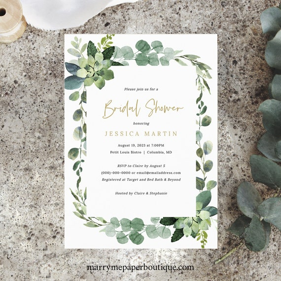 Lush Greenery Bridal Shower Invitation Template, Printable Bridal Shower Invite, Templett Editable, INSTANT Download