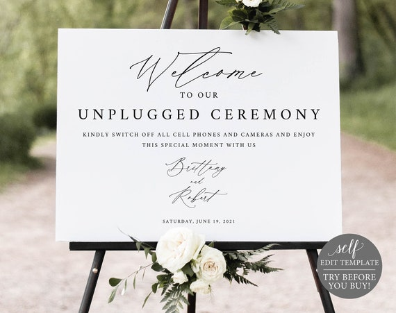 Unplugged Ceremony Sign Template, Editable Instant Download, Stylish Script, TRY BEFORE You BUY