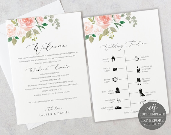 Wedding Timeline & Welcome Letter Template, TRY BEFORE You BUY, 100% Editable, Instant Download, Order of Events Printable, Pink Floral