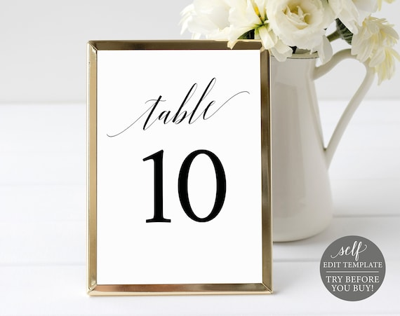 Table Number Template, TRY BEFORE You BUY, 100% Editable Instant Download, Elegant Font