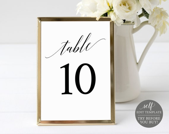 Table Number Template, TRY BEFORE You BUY,  Editable Instant Download, Elegant Font