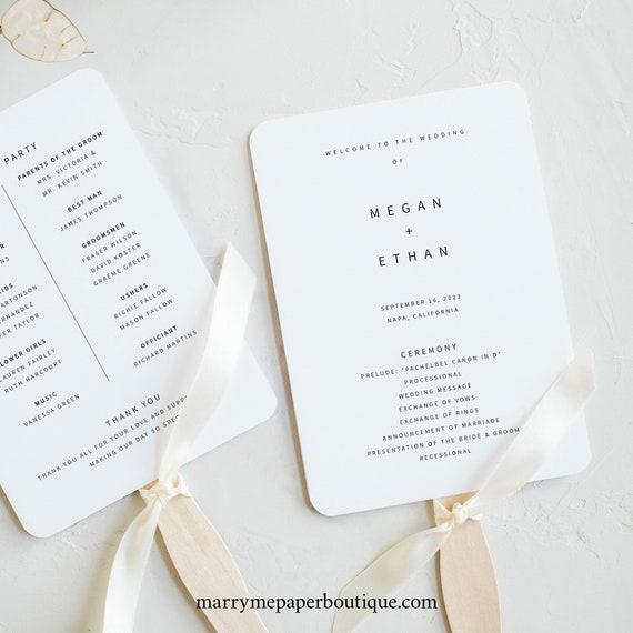 Minimalist Program Fan Template, Modern Wedding Fan Program Printable, Templett Instant Download, Try Before Purchase
