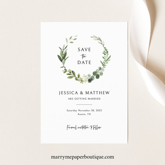 Save the Date Card Template, Elegant Greenery, Templett Instant Download, Editable & Printable, Try Before Purchase
