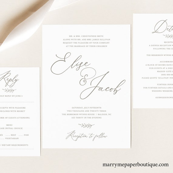 Wedding Invitation Template Set, TRY BEFORE You Buy, Invite, RSVP & Details Card Printables, Instant Download, 100% Editable