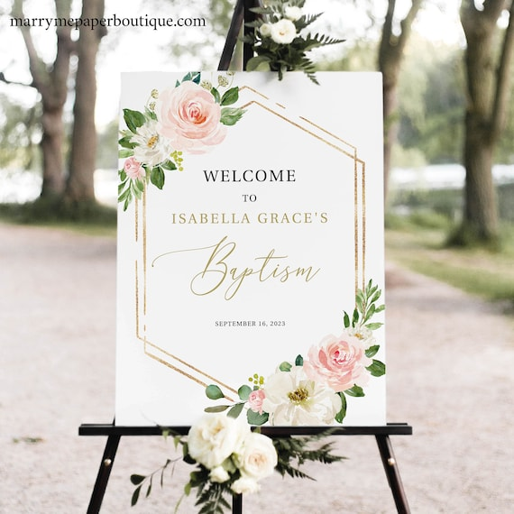 Baptism Welcome Sign Template, Pink Floral Hexagonal, Editable Instant Download, TRY BEFORE You BUY