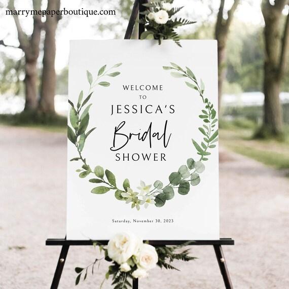 Bridal Shower Welcome Sign Template, Elegant Greenery, Bridal Shower Sign, Printable, Editable, Templett INSTANT Download