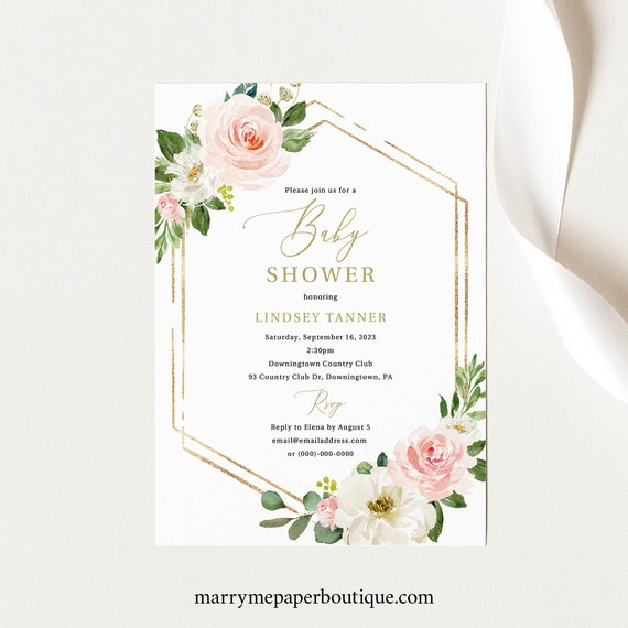 Baby Shower Invitation Template, TRY BEFORE You BUY, Pink Floral Hexagonal, Editable Instant Download