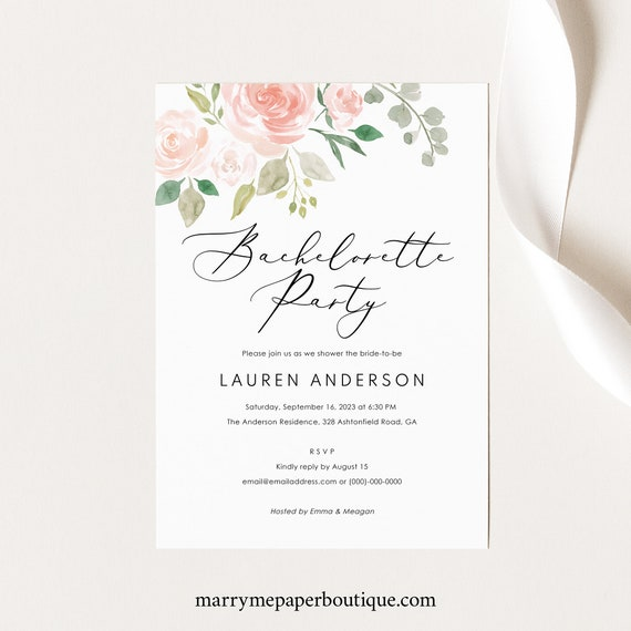 Bachelorette Party Invitation Template, Blush Floral, Editable Instant Download, TRY BEFORE You BUY