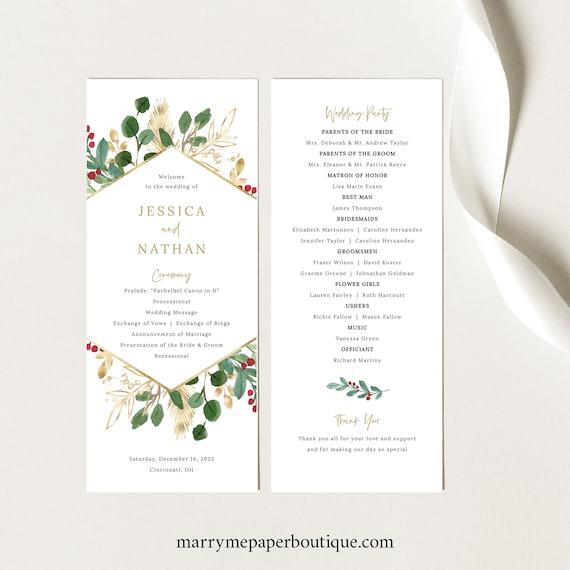 Winter Berry Program Template, Christmas Wedding Program Printable, Instant Download, Templett Editable