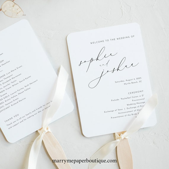 Wedding Program Fan Template, Luxury Calligraphy, Elegant Wedding Fan Program, Printable, Editable, Templett INSTANT Download