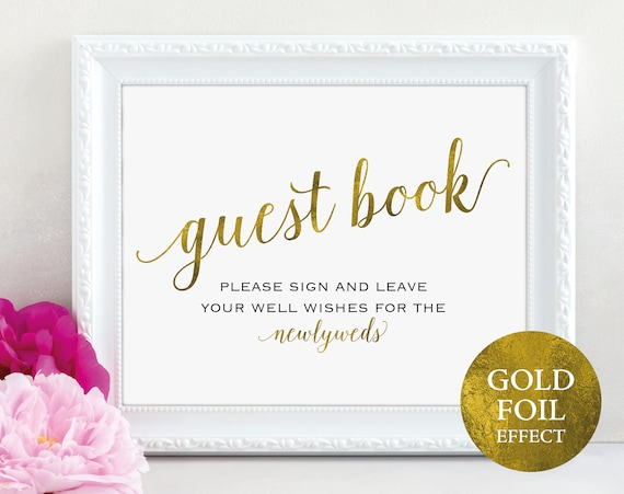 Gold Guest Book Sign, Please Sign our Guest Book, Guest Book Printable, Newlyweds Sign, Wedding Printable Sign, PDF Instant Download, MM01-3