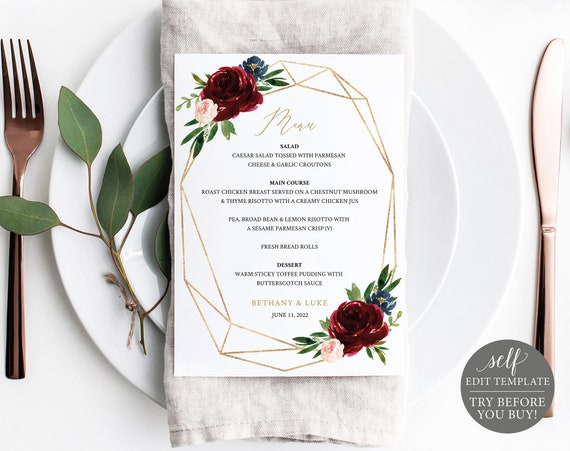Wedding Menu Template, Burgundy Geometric 5x7, Printable Editable Instant Download, Demo Available