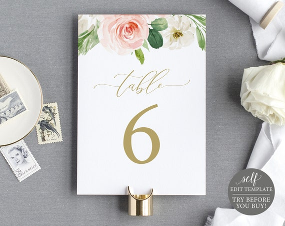 Table Number Template, TRY BEFORE You BUY, Editable Blush Floral Instant Download