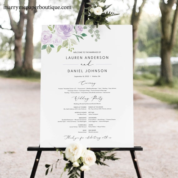 Lilac Floral Wedding Program Sign Template, Mauve Order of Events Sign Printable, Templett Editable, INSTANT Download