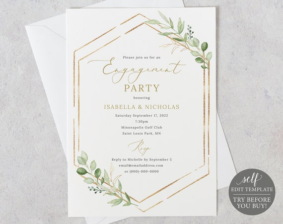 Engagement Party Invitation Template, Greenery Hexagonal, Editable & Printable Instant Download, Templett, TRY Before You Buy