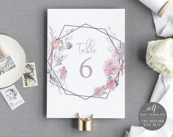 Table Number Template, Pink & Lilac Floral, TRY BEFORE You BUY, Editable Instant Download
