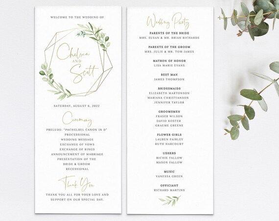 Wedding Program Template, Editable Printable, Instant Download, Greenery & Gold, Templett