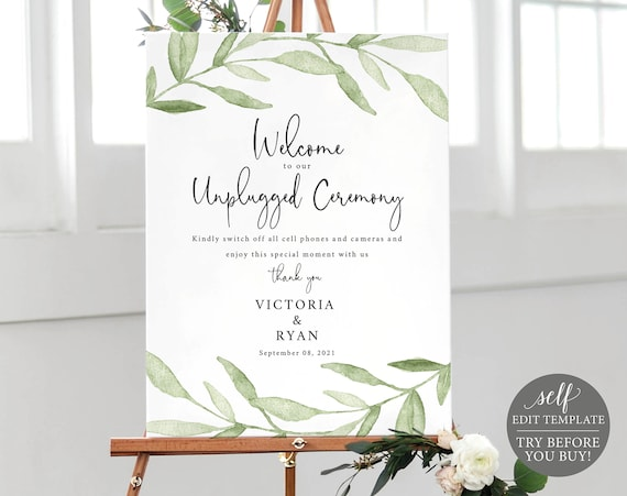 Unplugged Ceremony Sign Template, Greenery Leaves, TRY BEFORE You BUY, Editable Instant Download