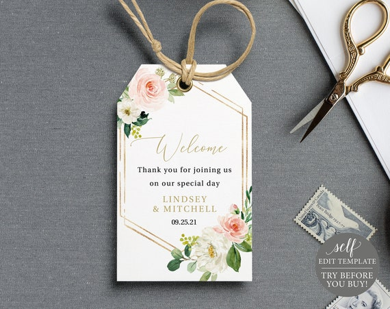 Favor Tag Template, Blush Floral Hexagonal, TRY BEFORE You BUY, Editable Instant Download