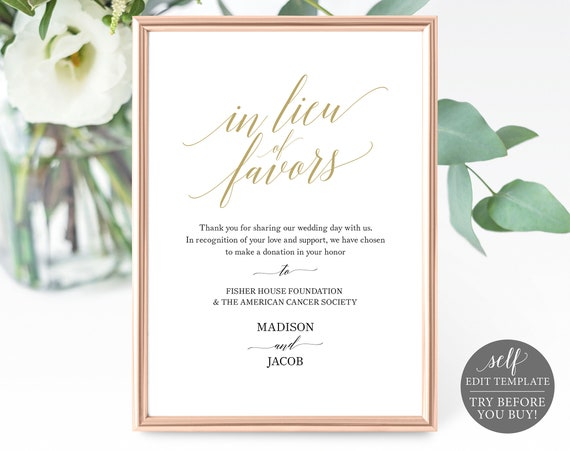 Gold In Lieu of Favors Sign Template, Printable In Lieu of Favors Sign, Editable Wedding Donation Sign, Instant Download