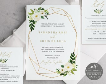 Wedding Invitation Set Templates, White Floral Geometric, Fully Editable Instant Download, TRY BEFORE You BUY