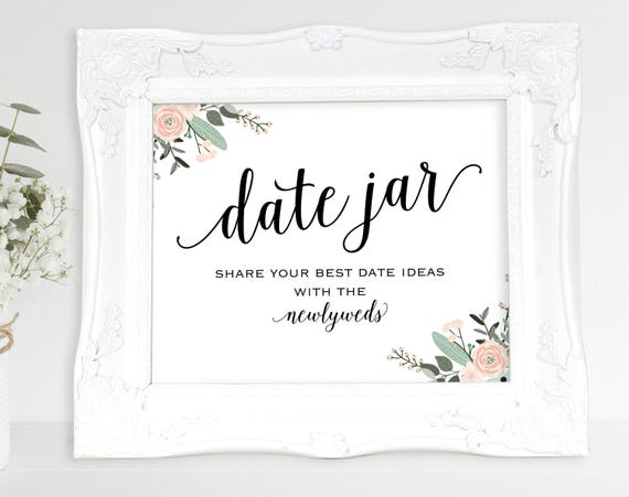 Floral Date Jar Sign, Newlyweds, Date Night Ideas, Date Jar Wedding Sign, Wedding Printable, Date Jar, PDF Instant Download, MM01-6