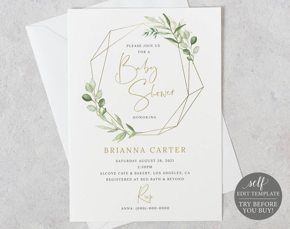 Baby Shower Invitation Template, Editable Printable Instant Download, Greenery & Gold, Try the Demo!