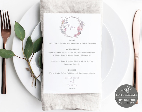 Menu Template, Pink & Lilac Floral, 5x7 Editable Printable Instant Download, Templett, TRY BEFORE You Buy
