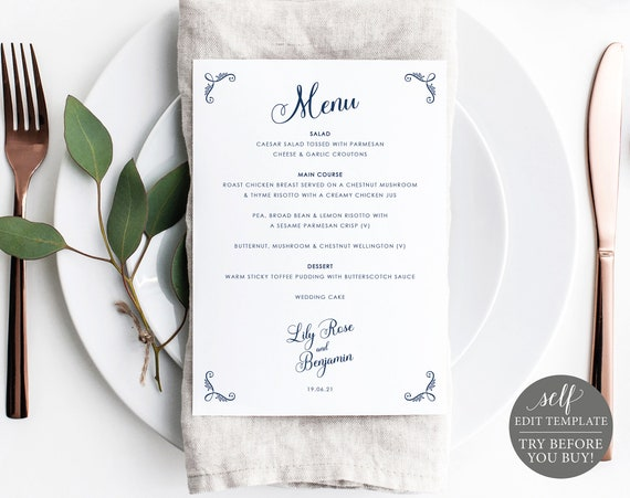 Wedding Menu Template, Rustic Navy 5x7, FREE Demo Available, Editable Instant Download