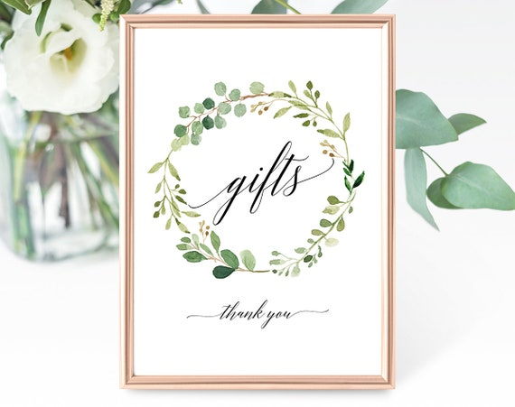 Greenery Baptism Gifts Sign Template, Baptism Gifts Sign, Printable Gifts Sign Template, Greenery Gifts Sign, PDF Instant Download MM07-1