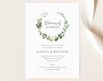 Rehearsal Dinner Invitation Template, Elegant Greenery, Editable & Printable Invite, Demo Available, Templett Instant Download