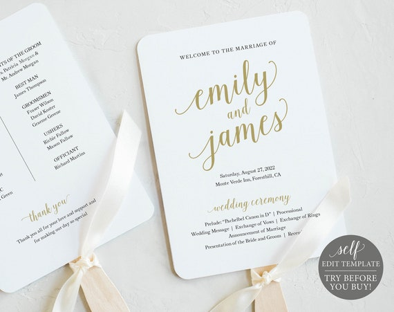 Gold Program Fan Template, Editable & Printable Wedding Fan, Instant Download, Templett