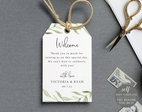 Welcome Tag Template, TRY BEFORE You BUY, 100% Editable Instant Download, Greenery Leaves