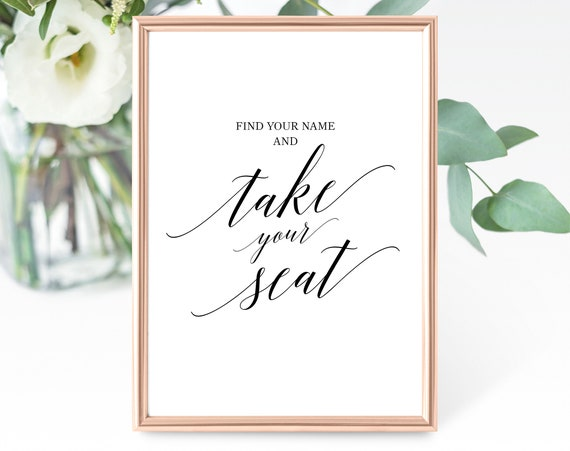 Wedding Seating Sign Template, Printable Take Your Seat Sign, Wedding Find Your Seat Sign, Find Your Name, PDF Instant Download, MM07-1B