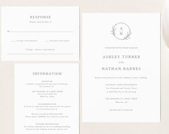 Circle Monogram Wedding Invitation Template Set, Editable Wedding Invite Printable, Templett Instant Download, Try Before You Buy