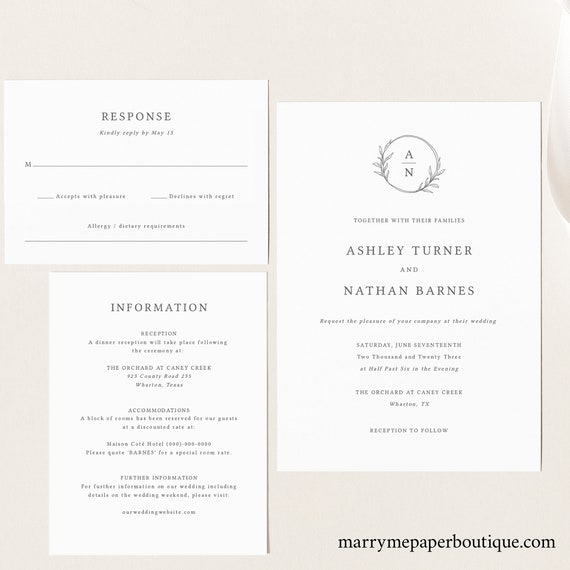 Circle Monogram Wedding Invitation Template Set, Editable Wedding Invite Printable, Templett Instant Download, Try Before You Buy