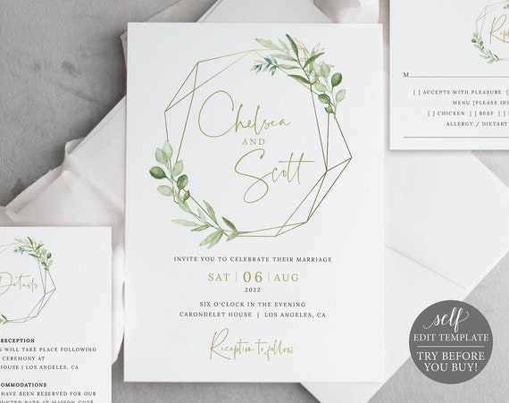 Wedding Invitation Template Suite, Greenery & Gold, Editable Printable Instant Download, Templett