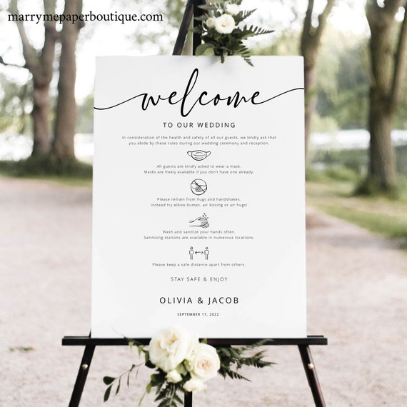 Wedding Safety Rules Sign Template, Modern Calligraphy, Fully Editable, Templett INSTANT Download