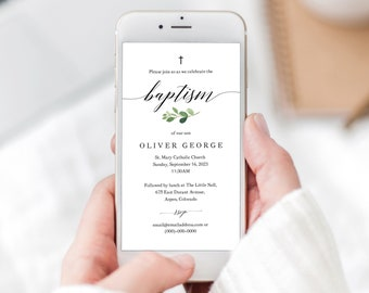 Baptism Text Invitation Template, Greenery Leaf, Electronic Baptism Invite, Editable, Templett INSTANT Download