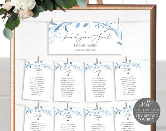 Seating Chart Template, Blue Foliage Cards, TRY BEFORE You BUY, Editable Instant Download