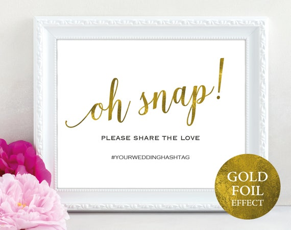 Faux Gold Oh Snap Sign Template, Printable Hashtag Sign, Editable Oh Snap, Instagram Sign, Social Media Sign, PDF Instant Download, MM01-3