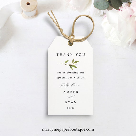 Greenery Wedding Favor Tag Template, Green Leaf, Wedding Gift Tag Printable, Templett Editable, Instant Download