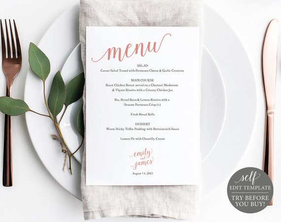 Wedding Menu Template 5x7, TRY BEFORE You BUY, Rose Gold Script, 100% Editable Instant Download
